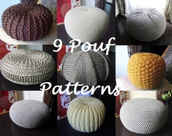 Crochet Pattern Knitting Pattern 9 Knitted & Crochet Pouf Floor cushion Patterns Crochet Pattern Knit Pattern Pouf Ottoman Pattern Pouffe
