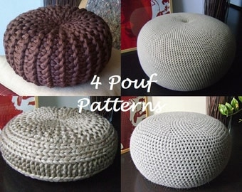 CROCHET PATTERN 4 Knitted & Crochet Pouf Floor cushion Patterns, Crochet Pattern, Knit Pattern