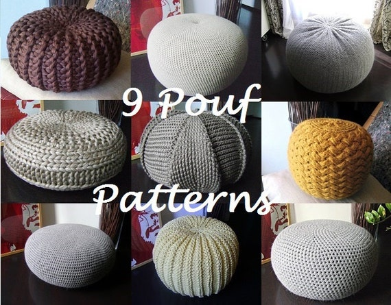 Crochet pattern knitting pattern 9 knitted crochet pouf - Knitted pouf ottoman pattern ...