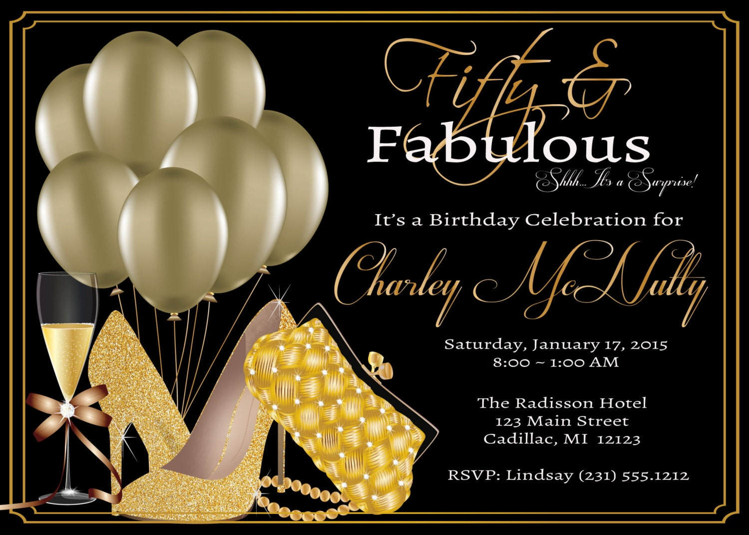Women's 50th Birthday Invitation Adult 50th by FabPartyPrints
