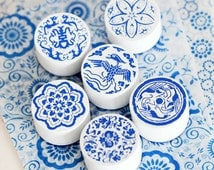 Set of 6 Retro Rubber Stamps, Blue and White Porcelain Stamp, Scrapbook DIY Projects