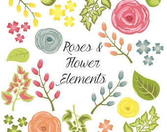 80% OFF SALE Flower Clipart, Rose Clipart, Digital Flowers, Digital Roses, Vector
