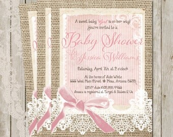 Rustic,  Burlap and Lace Girl Baby Shower Invitation, Invite, Shabby, Printable, Customize, 5x7