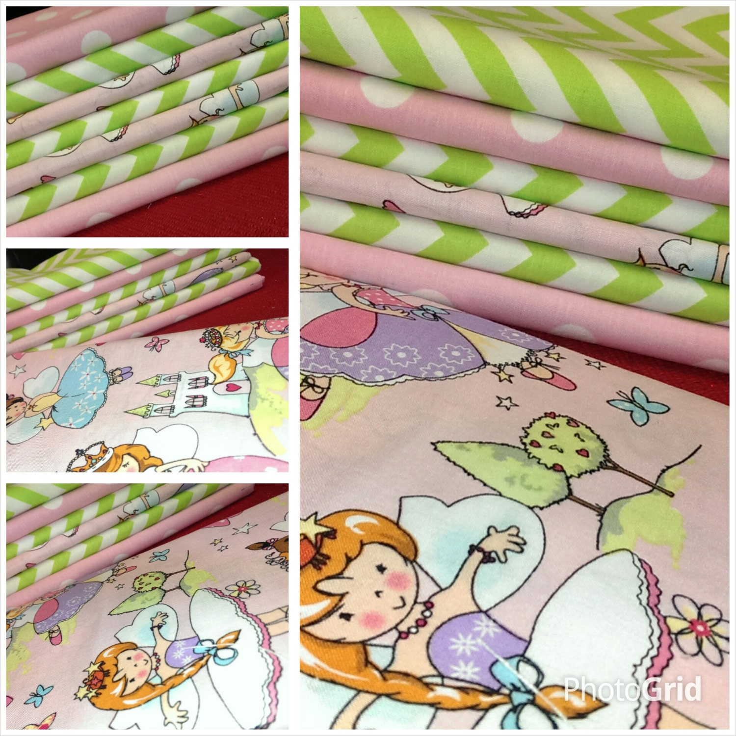 Kids fabric fabric bundle baby fabric fairies fabric pink for Childrens fabric bundles