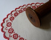 Handmade, English, oval RED and WHITE LINEN doily, scalloped linen with red-borders, 1950's