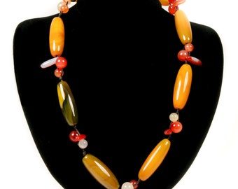 One-of-a-kind Agate and Carnelian Necklace