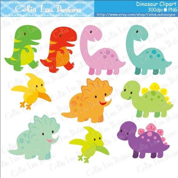 Dinosaur Digital Clipart/ Cute Dinosaur By CeliaLauDesigns