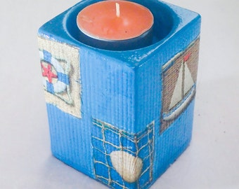 Attractive decoupage candle holder