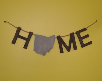 "Ohio ""Home"" Lettering Wall Art"