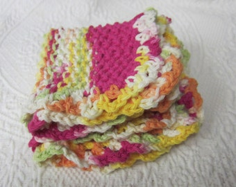 Knit Dishcloth,Washcloth,Dishcloth,Dish Rag,Wash Rag,Set of two,Cotton Dishcloth,Pink,Green,Yellow,Kitchen Decor,Retro Kitchen, Kitchen,Gift