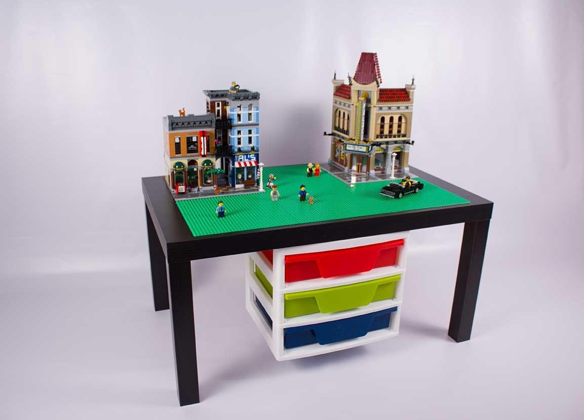 Large Black LEGO Table with LEGO storage drawers by BricksbyJaxs