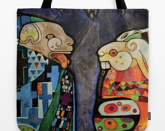Unique Market Tote, Mayan Animals, The Kiss Klimt, Reusable Grocery Bag, Outsider Art Tote, Folk Art, Outsider Artwork, Printed Beach Tote