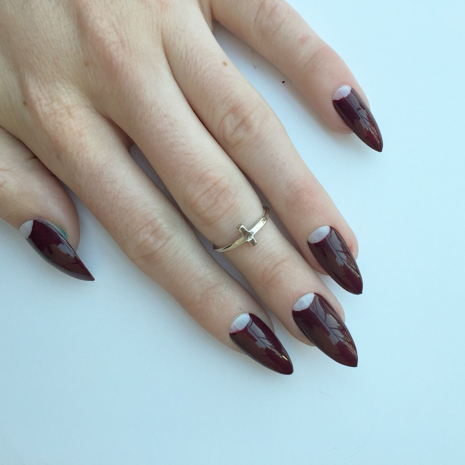 Deep Red Half Moon Nails