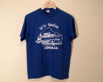 Vintage Boat T Shirt. Medium Cotton Blend Sailing Ship TShirt. M/V Sindar Admiral.