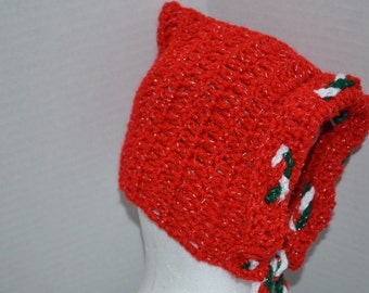 Crochet Christmas Bonnet hat Red Ridding Hood Inspired FREE SHIPPING in USA