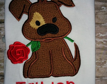 Puppy Dog holding a Rose Valentine's Day Embroidered Shirt T-Shirt Boy Child Girl!