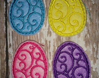 Set of 4 Girly Swirly Swirl Egg with Bow Easter Feltie Felt Embellishment Bow! Birthday Party Easter Eggs Planner Clip Bunny Rabbit