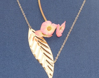 Gold Plated, Simple Pressed Large Leaf Pendant, Necklace