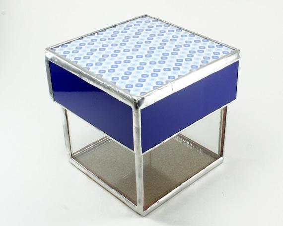 Blue glass container desk accessory organizer bathroom - Glass desk organizer ...