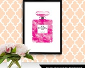 French Fashion House Perfume Bottle Illustration Watercolor Print Poster | Printable Digital File