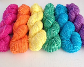 """Hand dyed Yarn """"Rainbow Set"""" 300g DK / Sock weight - dyed to order"""