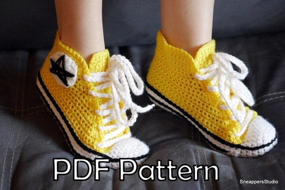 Women Converse Inspired SIZE 6-11 US (36-41 EU) Sneakers Crochet Pattern