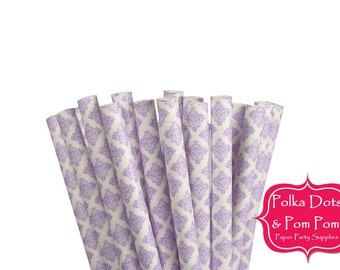 25 LILAC Lavender PURPLE Damask Pattern Paper Drinking Straws / Birthday Party Decorations Ideas and Supplies / Wedding / Bridal Shower