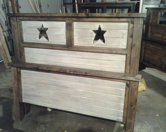 custom made solid wood bed with star cutouts