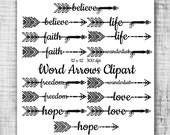 Hand Drawn Word Arrows Tribal Aztec Digital Clip Art - tribal word arrows transparent background arrows for scrapbooking wedding invitations
