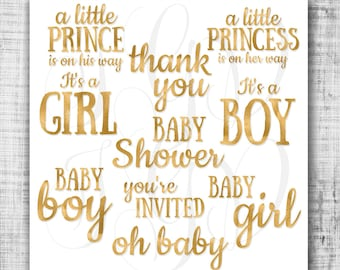 Baby shower gold foil clip art word art photo overlay -diy gold metallic foil pattern baby boy girl clipart for scrapbooking invitation card