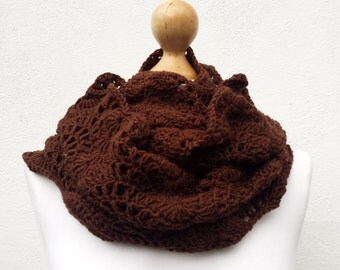 Merino Hand Knitted Infinnity Chunky  Scarf, Cowl, Brown Scarf, Shawl, Wrap for women, Cowl, chocolate brown chunky scarf
