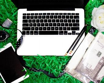 Keyboard Stock Photography | Notebook | iPad Stock Photo | Green Styled Stock Photography | Grass | Website Design Background | Flowers