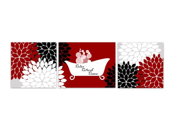 Bathroom wall art red and black bathroom decor relax refresh for Red and white bathroom accessories