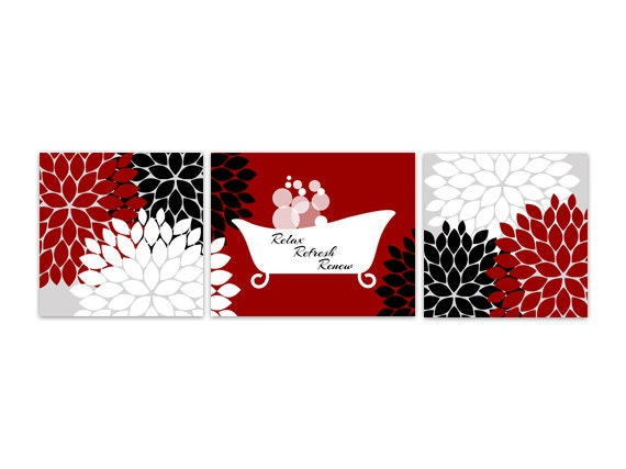 Bathroom wall art red and black bathroom decor relax refresh for Black white red bathroom decor