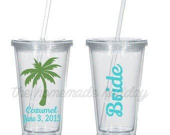 Personalized wedding Favor, Acrylic Insulated Cup with Straw- destination wedding favor, bachelorette cups