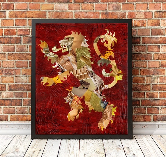 Items similar to Harry Potter wall art, Gryffindor Lion ...