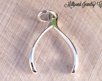 Wishbone Charm, Wishbone Pendant, Lucky Charm, Lucky Pendant, Lucky Wishbone Charm, Sterling Silver Charm, Sterling Silver Pendant, PS0191