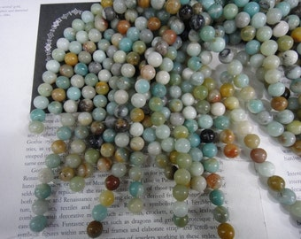 10mm natural amazonite round beads, 15.5 inch