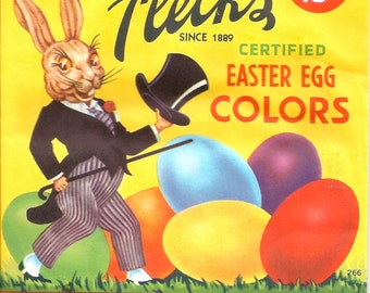 Vintage Easter bunny rabbit 300dpi digital download digital art image Fleck's Easter egg color dye package