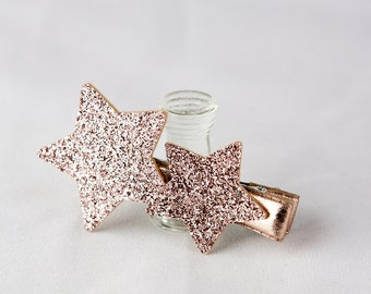 Hair Clip for Kids Girl, Baby Hair Clip, Pink Glitter Star Hair Clip - Indi Pink