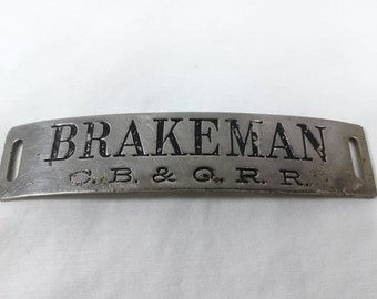 Vintage C.B.&Q RR brakeman hat badge railroad cbq