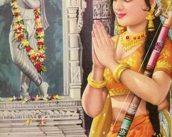 Meera ... vintage Indian Hindu devotional poster print
