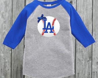 Dodgers Inspired Baseball Tee for Toddler Girl