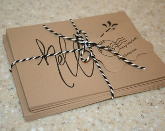 "Greeting Set: 8 hand-lettered brown kraft greeting notecards with envelopes (4.25"" x 5.5"")"