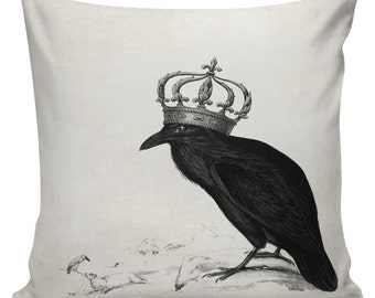 Halloween Pillow Crow with Crown Cushion Pillow Cover cotton canvas throw pillow UE-109 18 inch square Urban Elliott