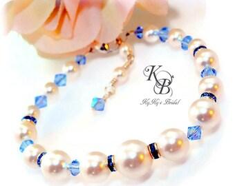Bridal Bracelet, Blue Bridal Jewelry, Something Blue Bracelet, Pearl Bridal Bracelet, Blue Bridal Jewelry, Something Blue Jewelry