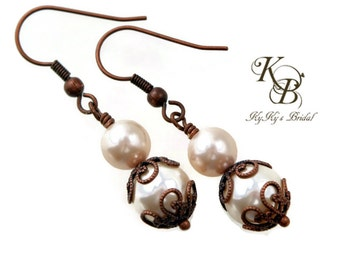 Pearl Bridal Earrings, Wedding Jewelry, Copper Earrings, Bridal Jewelry, Pearl Earrings, Winter Wedding, Wedding, Bridal Shower Gift