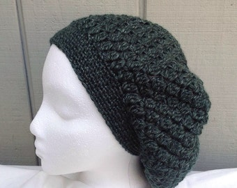 Crochet green slouchy hat - Crocheted green beanie - Womens slouchy beanie - Teens hats