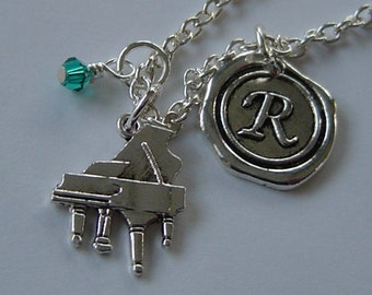 Piano Charm Necklace, Personalized Antique Silver Wax Seal Birthstone Initial, Antique Silver Piano  Necklace