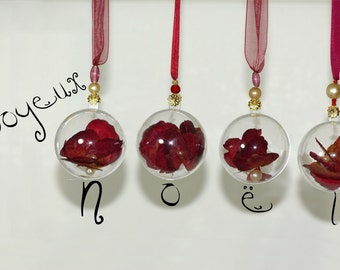 Christmas balls with red rose petals and perly beads_ like jewerly_christmas tree